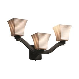 Justice Design POR-8976 Bend Three Light Wall Sconce (Style 2)