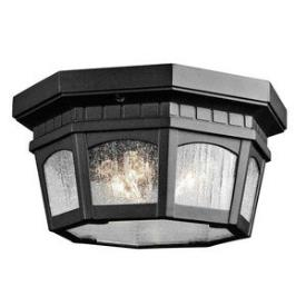 Kichler Lighting 9538BKT Courtyard - Three Light Outdoor Flush Mount