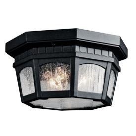 Kichler Lighting 9538BKT Courtyard - Three Light Outdoor Flush Mount