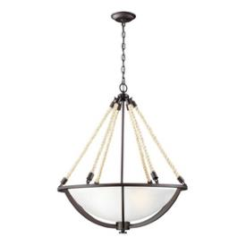 Landmark Lighting 63014-4 Natural Rope - Four Light Pendant