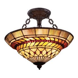 Landmark Lighting 70086-3 Glass Leaf - Three Light Semi-Flush Mount